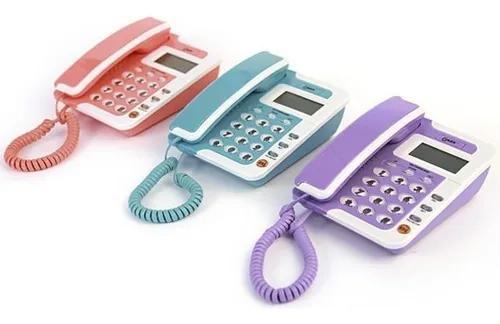Aparelho de telefone fixo colorido com dentificador de chama