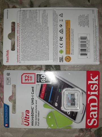 Cartão memória sandisk ultra de 32gb speed 80