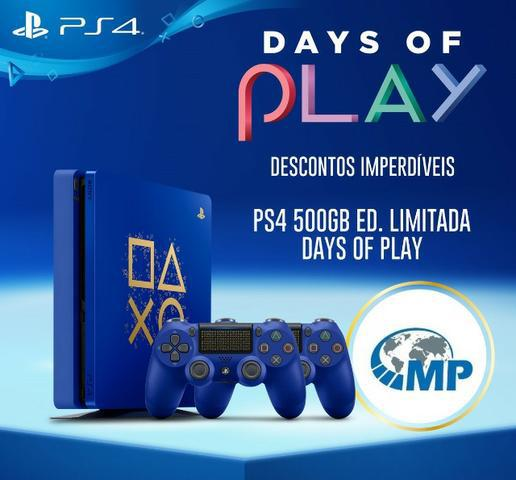 Playstation 4 days of play 1tb ou 500gb c/ 2 controles ps4