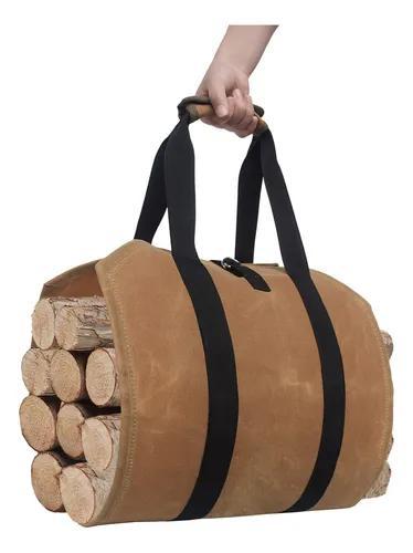 Tote log tote, bolsa ed canvas log carrier, 39x16 fogo