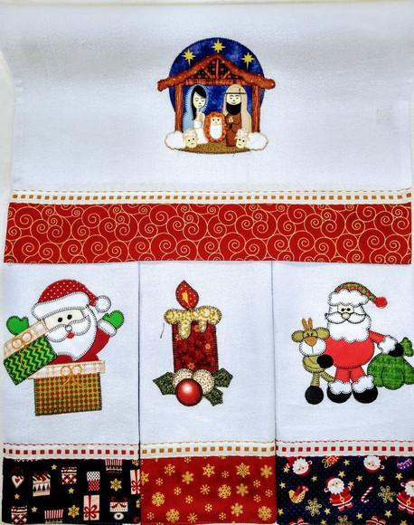 10 panos de prato de natal bordado patchwork
