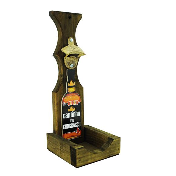 Abridor garrafa parede cantinho churrasco area lazer madeira