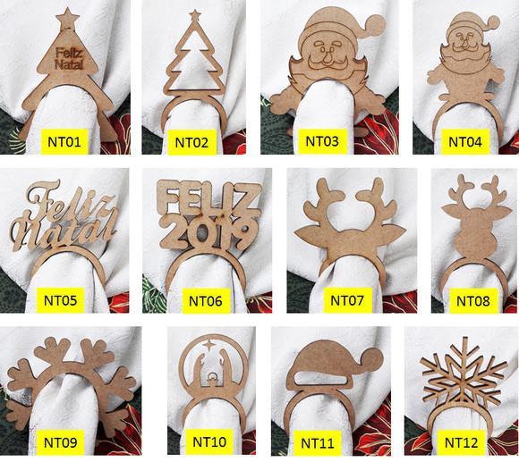 Argola anel porta guardanapo simples mdf cru diversos natal