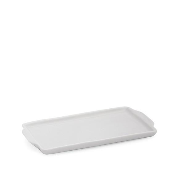 Bandeja porcelana retangular louça branca 21,5 comprimento