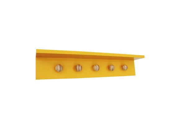 Cabideiro amarelo / pinus 60x10x11,5cm bolinha