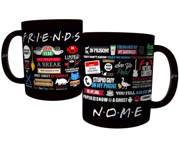 Caneca frases série friends - seriado amigos inteira preta