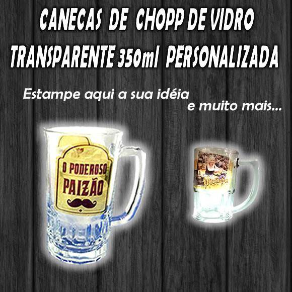 Caneca vidro chopp personalizada 350 ml