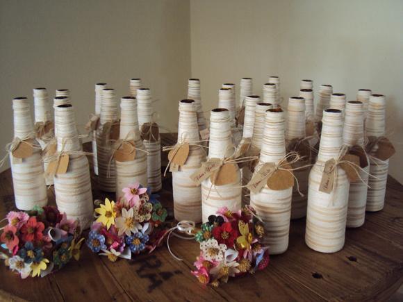 Centro de mesa garrafa long neck