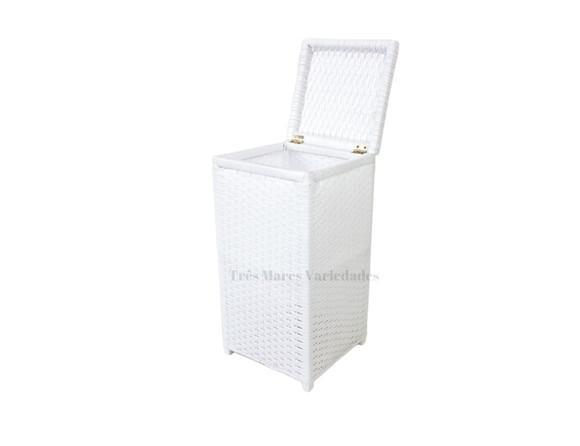 Cesto de roupas fibra sintética 30x30x60 cor branco vime