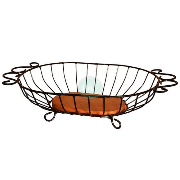 Fruteira rustica centro de mesa ferro madeira cozinha oferta
