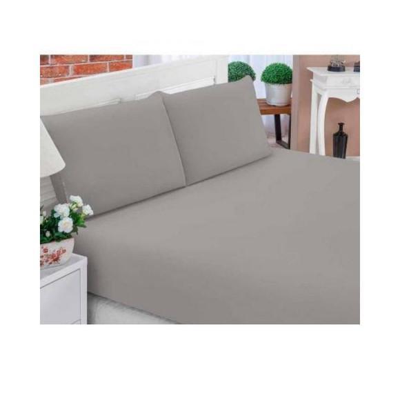 Jogo lencol casal 3 pecas cama box cinza ziper fronhas