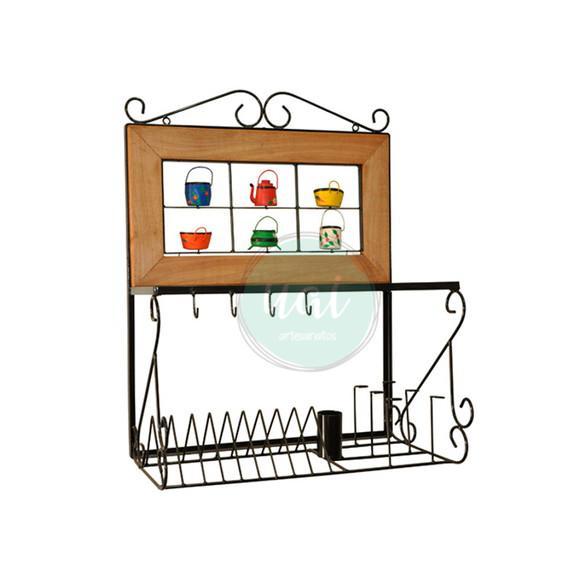 Paneleiro ferro madeira rústico escorredor pratos copos
