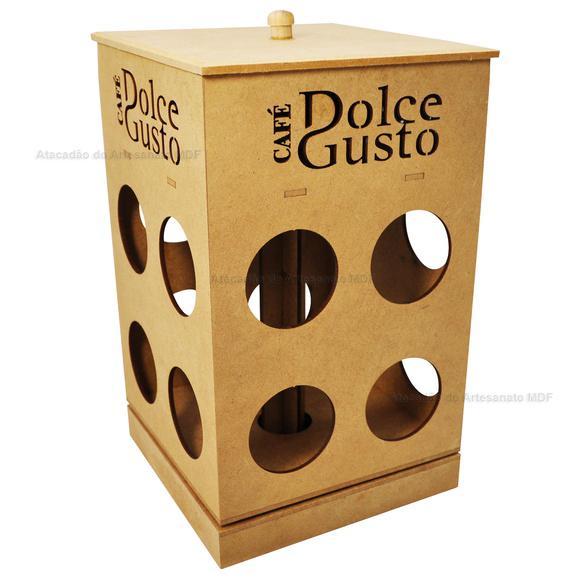 Porta capsulas giratório dolce gusto 23x14x14 - mdf cru