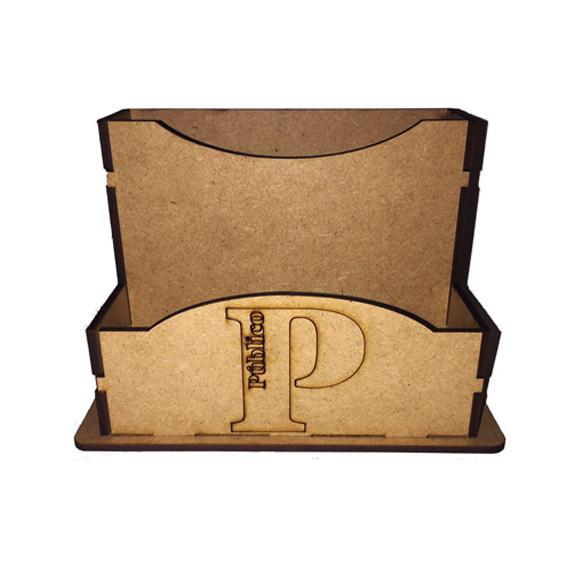 Porta guardanapo sache com logo + número em mdf cru