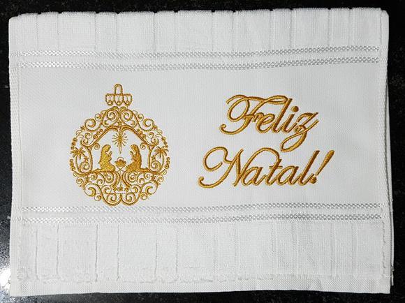 Toalha de lavabo personalizada natal bordada