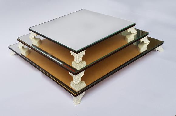 Trio de bandejas quadradas classic com espelho mdf cru ref14