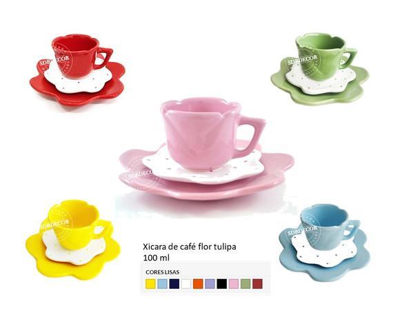 Xicara de cafe coloridas flor tulipa