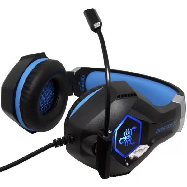 Headset gamer fone ouvido microfone scorpion bass led pc