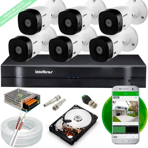 Kit 6 cameras 1220b intelbras full hd dvr mhdx 1108 hd cabo