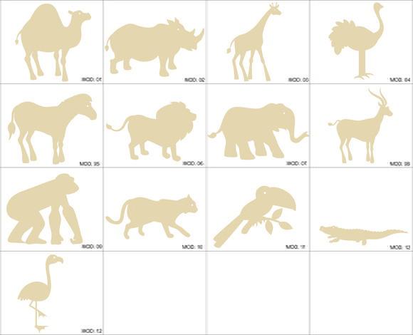 Animais zoologico miniaturas mdf