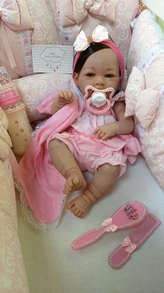 Boneca Bebê Reborn de vinil siliconado com Cabelinho
