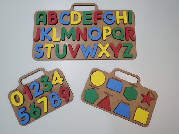 Brinquedo educativo pedagógico kit alfabeto números formas