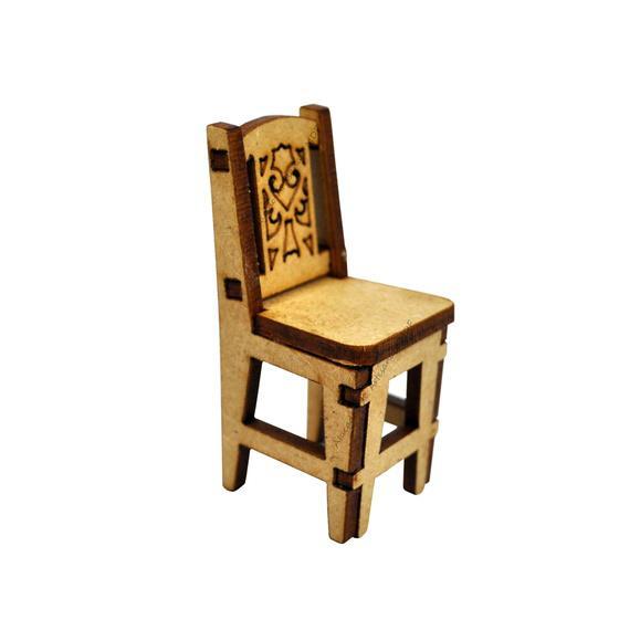 Cadeira miniatura 6x3x3 laser cru mdf