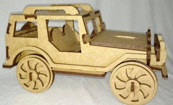 Carro jeep mdf brinquedo colecionar decorar lembrança festa