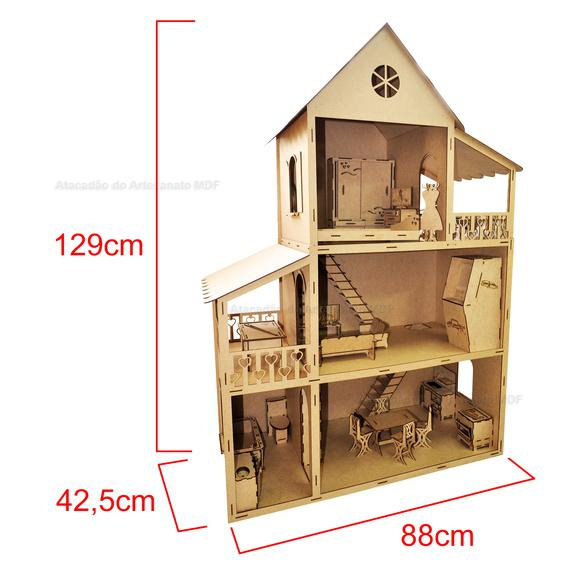 Casa boneca barbie mobiliada (29 móveis)