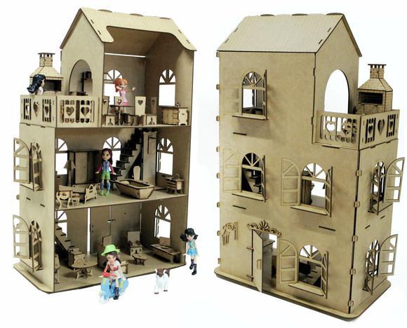 Casa casinha boneca polly mdf +27 móveis brinquedo b