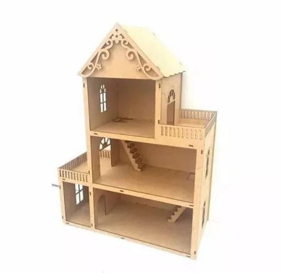 Casa casinha de boneca polly em mdf cru