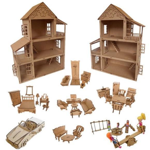 Casa casinha polly, 27 mini móveis, 1 parque e 1 carro mdf