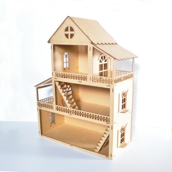 Casa de boneca polly em mdf cru montada