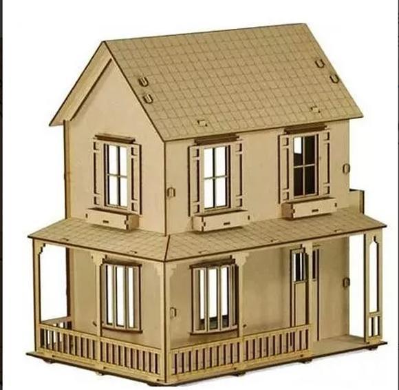 Casa de bonecas mdf para polly barbie pocket e similares c2