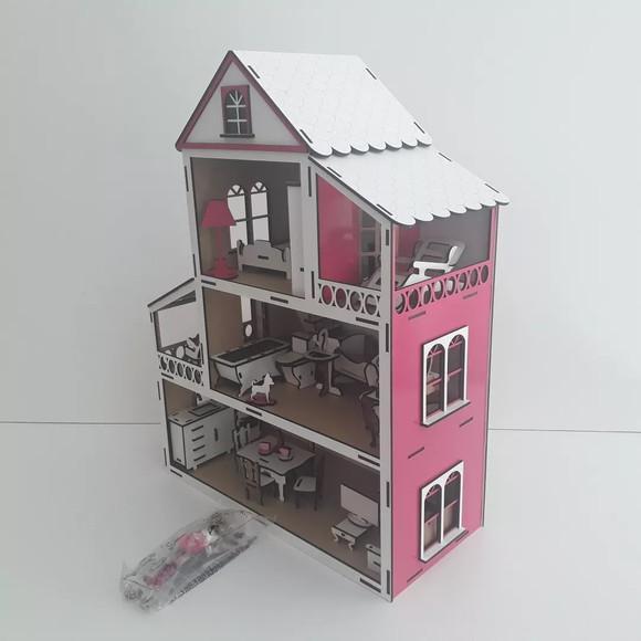 Casa Mdf + 21 Móveis + Boneca Barbie 12cm
