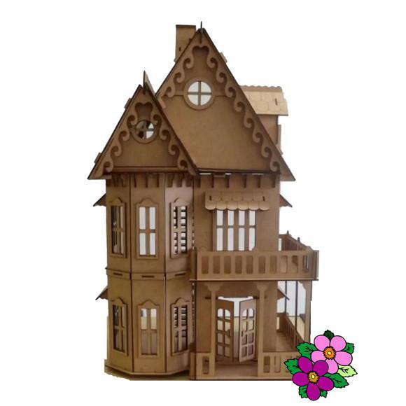 Casa mdf bonecas c6 p/polly grátis 24 móveis pronta