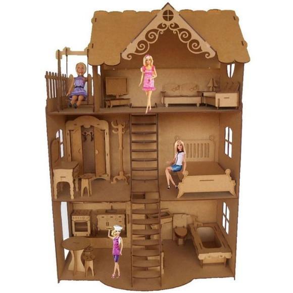 Casa casinha para boneca barbie com 24 mini móveis mdf cru