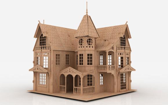 Casa de boneca mansão em mdf 3mm - modelo 01