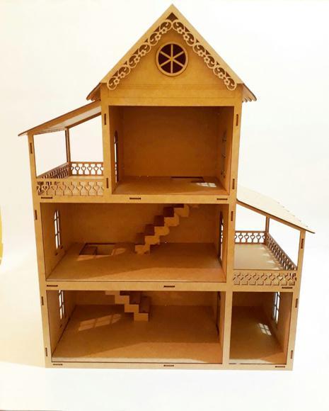 Casa de Bonecas Polly Pequena Mdf cru 60cm