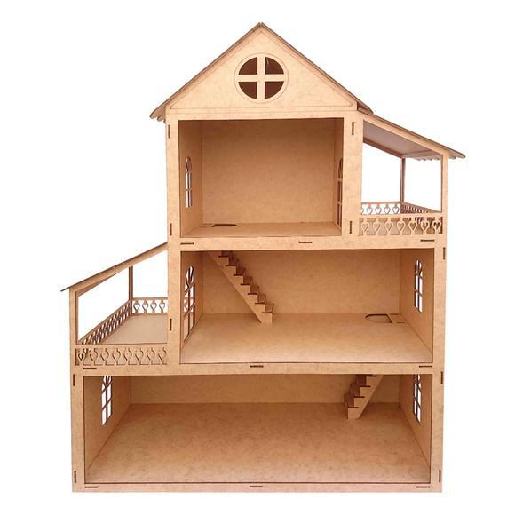 Casa de bonecas da polly 60cm de altura mdf cru r10