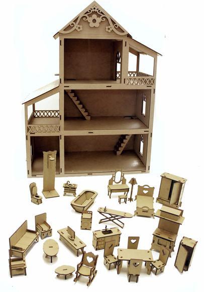 Casinha boneca polly +27 móveis brinquedo madeira poli