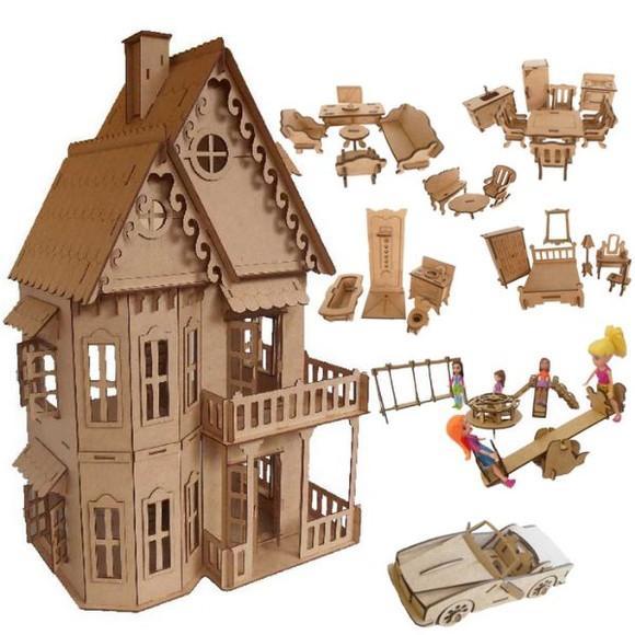 Casinha Castelo boneca polly em MDF + móveis parque e carro