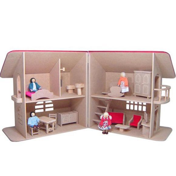 Casinha de boneca sobrado - com móveis - madeira - 2