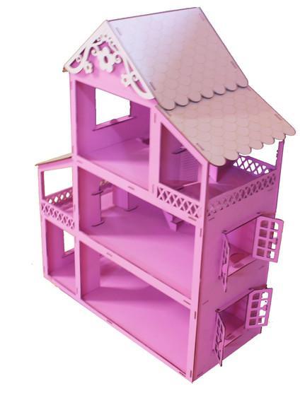 Casinha para boneca madeira cor rosa