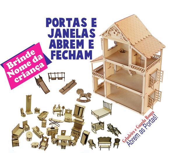 Casinha para boneca com móveis parque e nome da criança