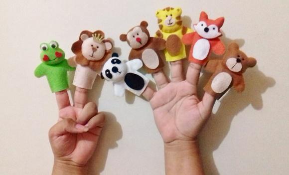 Dedoches animais da floresta - fantoche de dedo - 7 peças