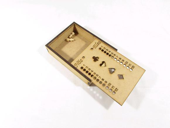 Estojo de baralho c/ marcador de truco em mdf corte a laser