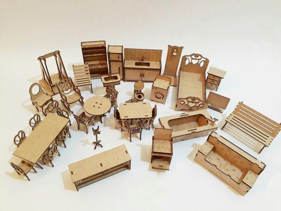 Kit mini móveis para casa polly pequena 60cm - mdf cru