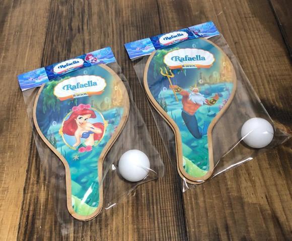 Kit raquetes de ping pong pequena sereia ariel e rei tritão