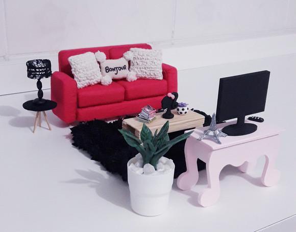 Mini móveis para sala de casinha de boneca